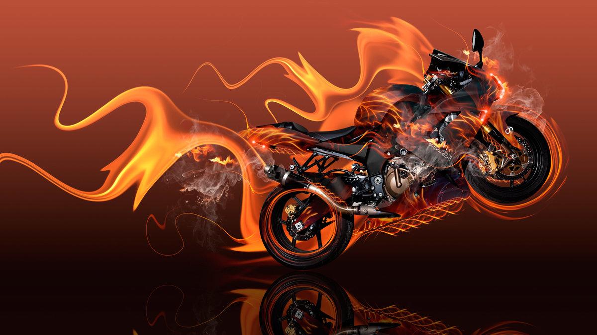 Moto Kawasaki Side Super Fire Flame Abstract Car