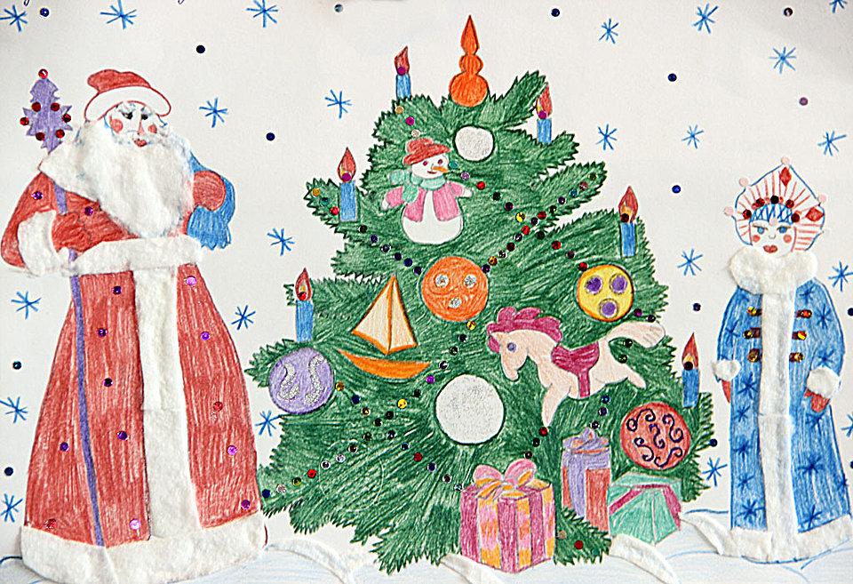 Утро, рисуем открытку к новому году 1 класс