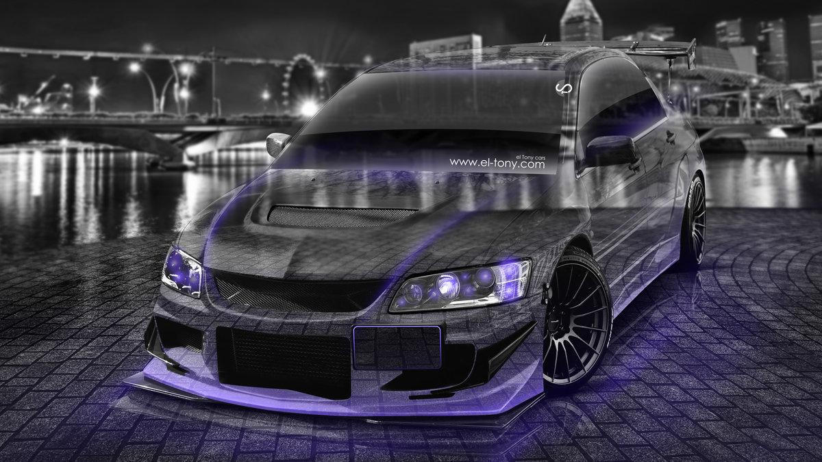 Superb Mitsubishi Lancer Evolution JDM Tuning 3D Crystal Night