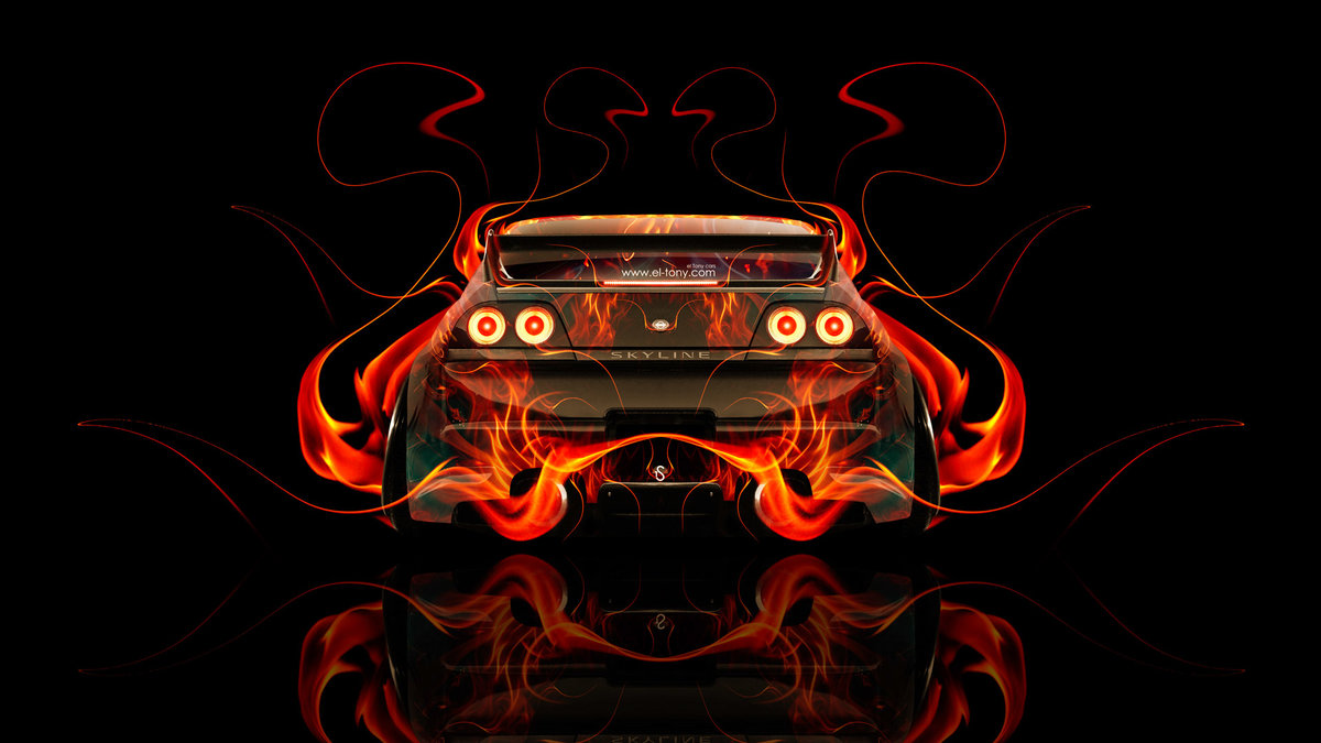 Captivating Nissan Skyline GTR R33 JDM Back Fire Abstract