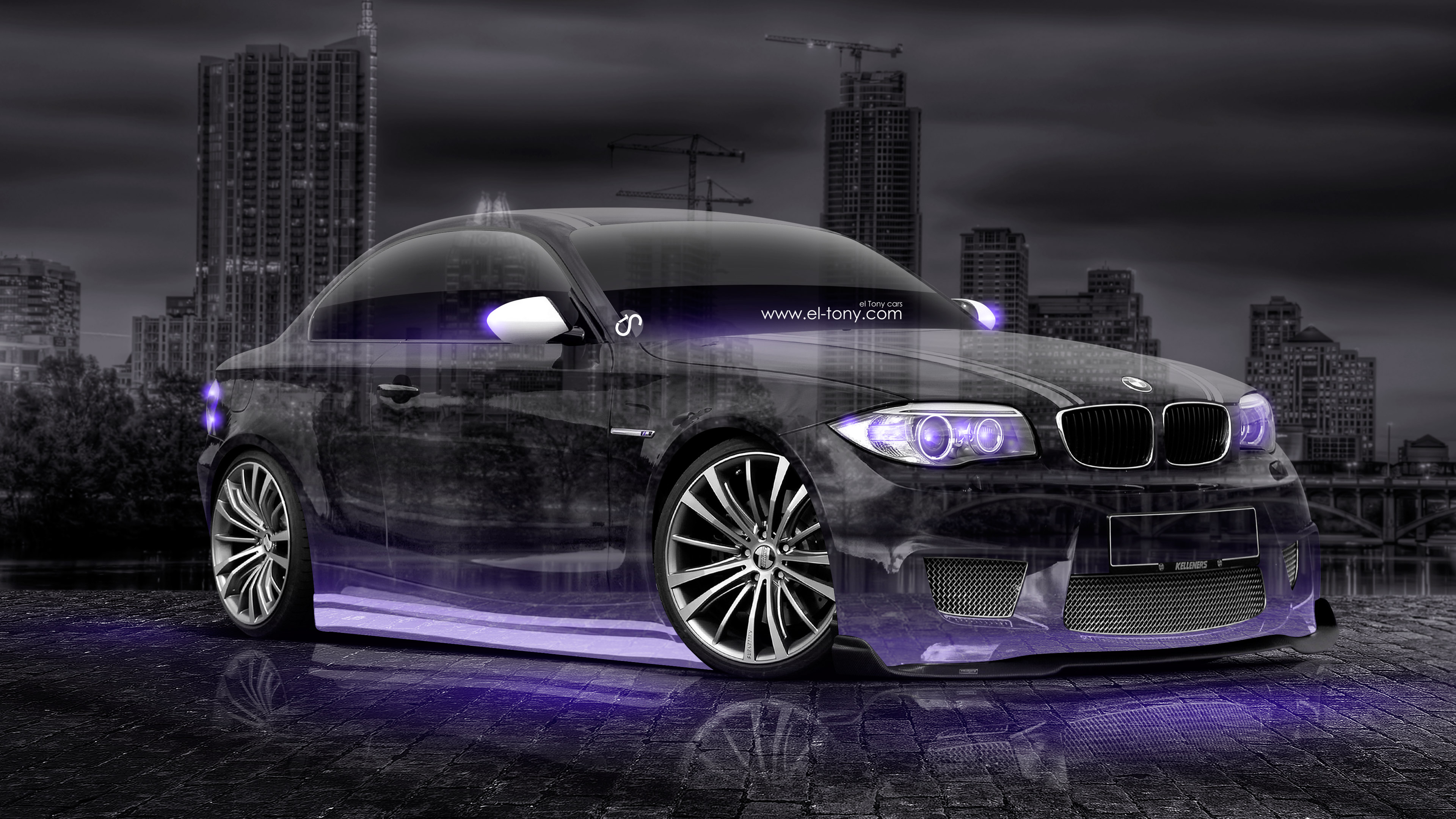 BMW M1 Tuning 3D Crystal City Night Car 2015 Fantasy Violet Neon ...