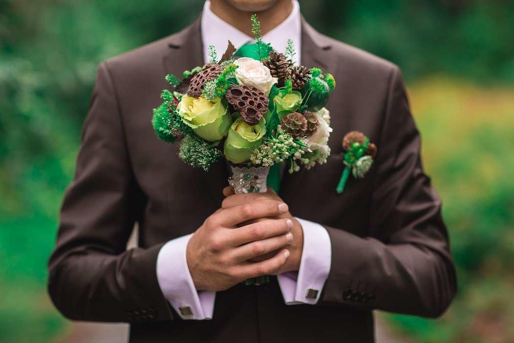 Оригинальные свадебный букет и бутоньерка киев купить, цветов орхидея