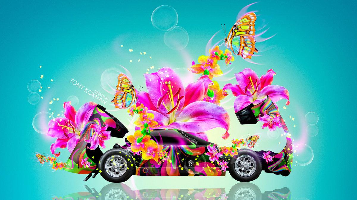 Lamborghini Miura Open Hood Side Fantasy Flowers Butterfly