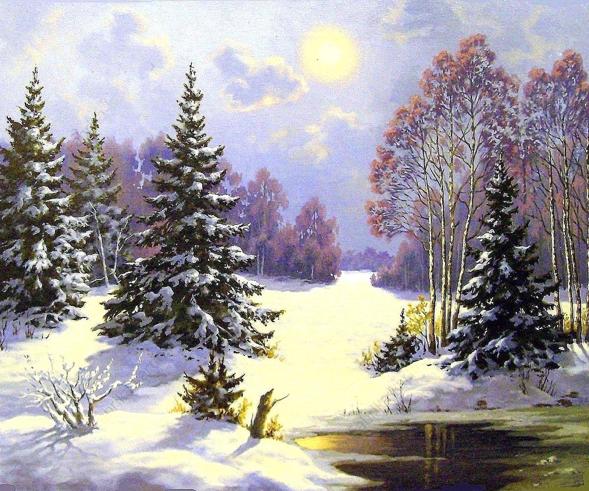 Картинки с пейзажем зимы нефедова