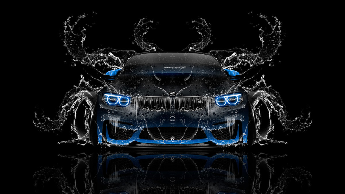 Bmw M4 Tuning Front Super Splashes Water Car 2016 Fantasy Blue Neon