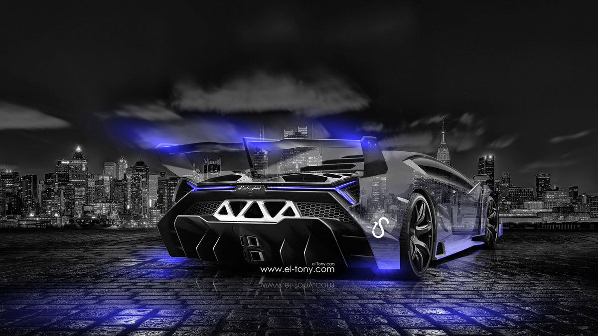 Lamborghini Veneno Crystal City Car 2014 Blue Neon Design By Tony