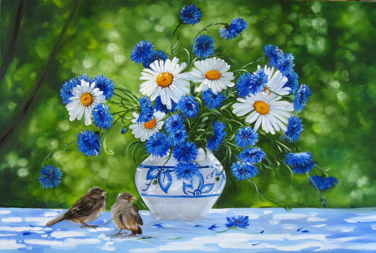 Юбилеем женщине, открытка с полевыми цветами с добрым утром