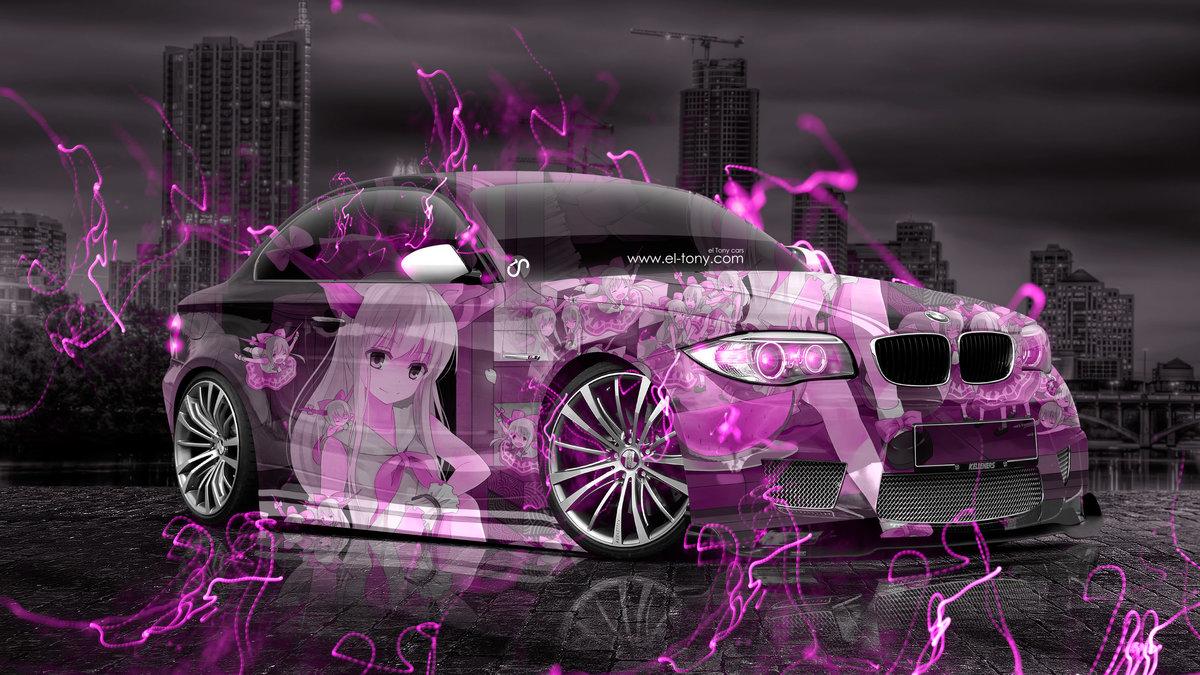 BMW M1 Tuning 3D Anime Girl Aerography City