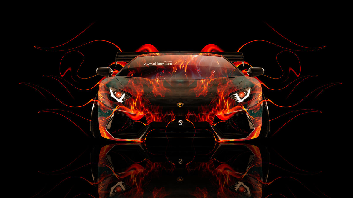 Lamborghini Aventador Tuning Front Fire Abstract Car 2014 Hd