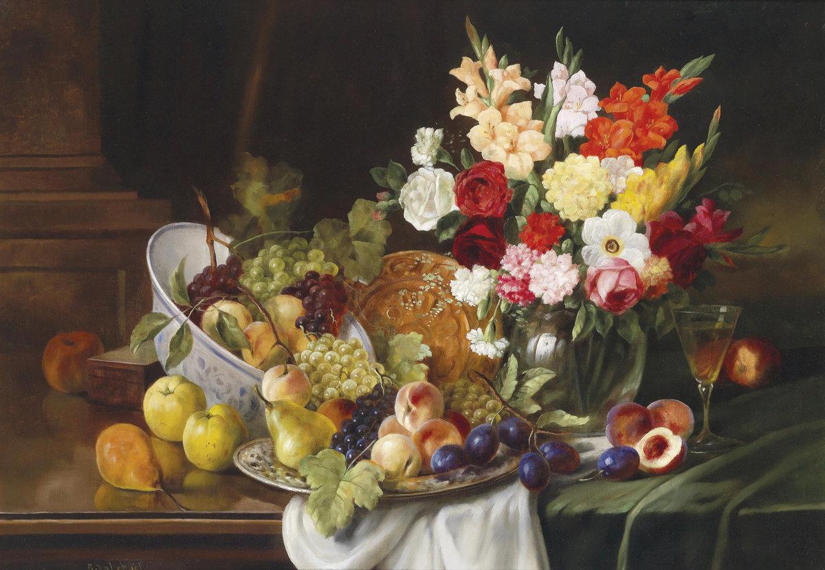 Натюрморт с цветами и фруктами картинки
