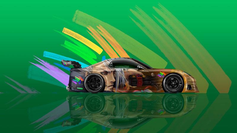 Captivating Mazda RX7 VeilSide Tuning JDM Side Anime Aerography
