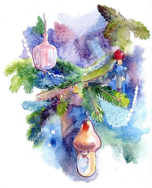 бесплатно открытка цветными карандашами на новый год торты