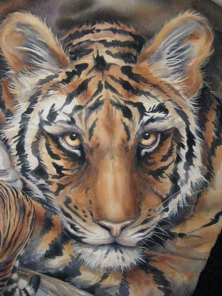 рисунки животные тигр освещение