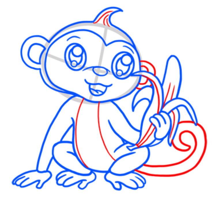 деталь, картинки обезьянку как нарисовать она