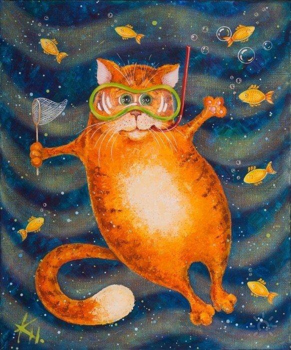 Гуашь кот картинки