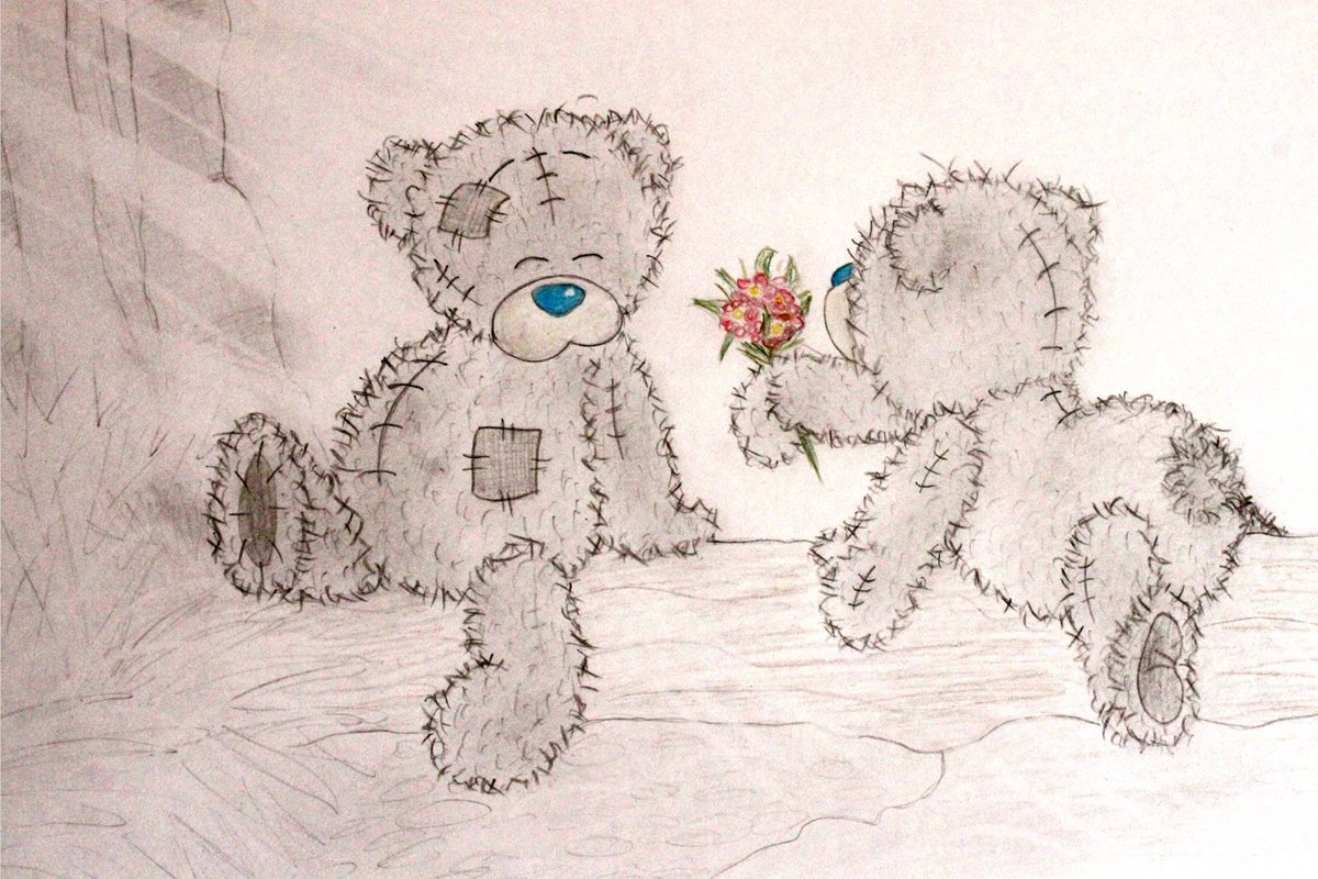 Как рисовать открытки тедди, добрый