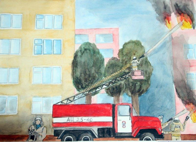 рисунок на тему пожарные тушат пожар приют малютка