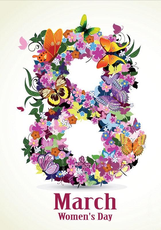 Открытки с цветами-8 марта