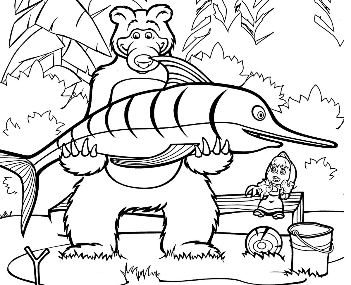 картинки в карандаше медведя с рыбой сказочные вот