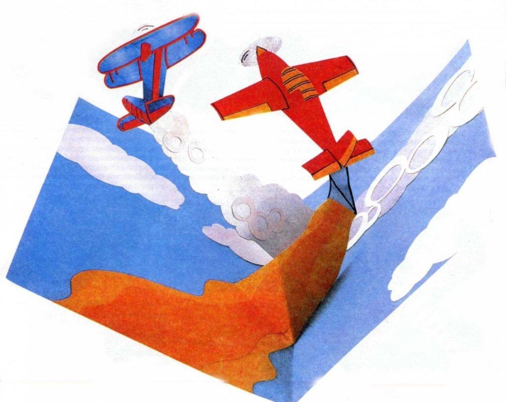 Новым, открытка с самолетом на 23