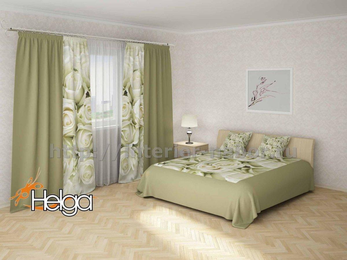 фото комплект покрывало и шторы для спальни