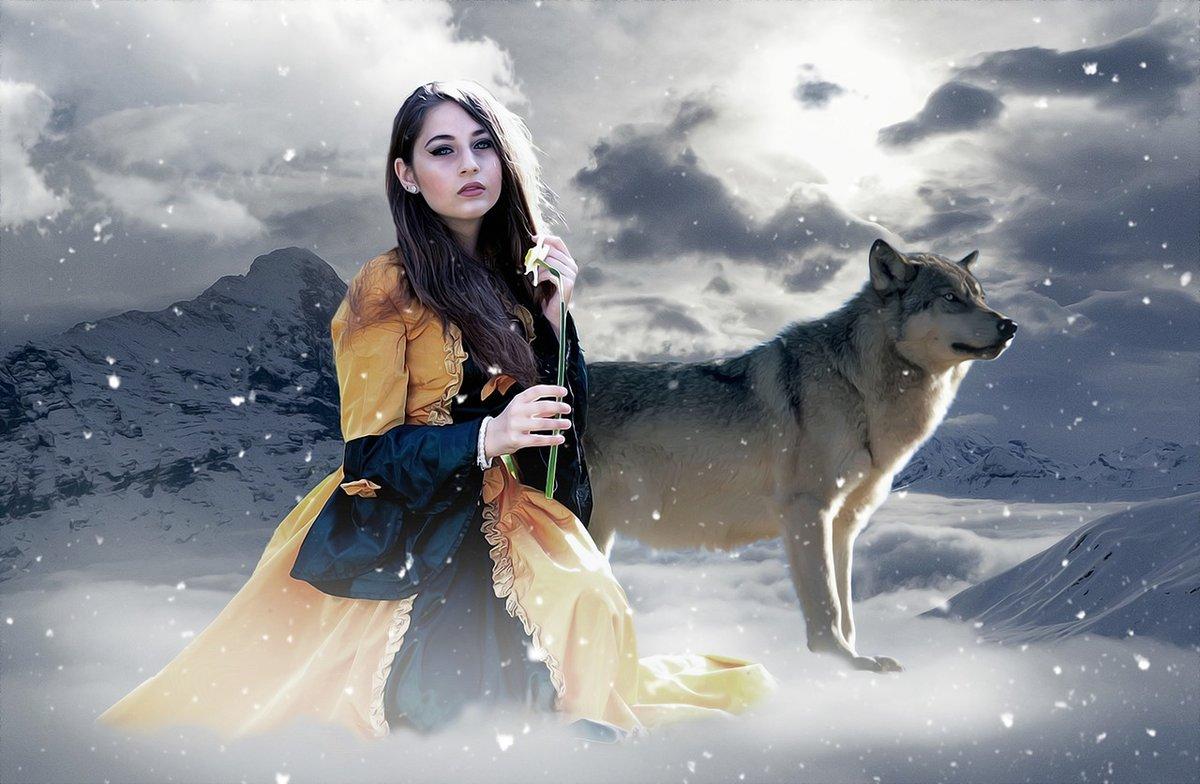 Картинки девушка и волк, гифки контакте