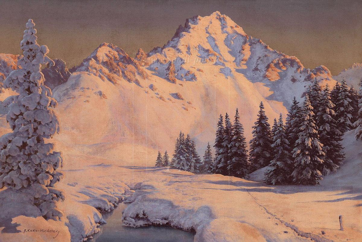 постер с зимним пейзажем