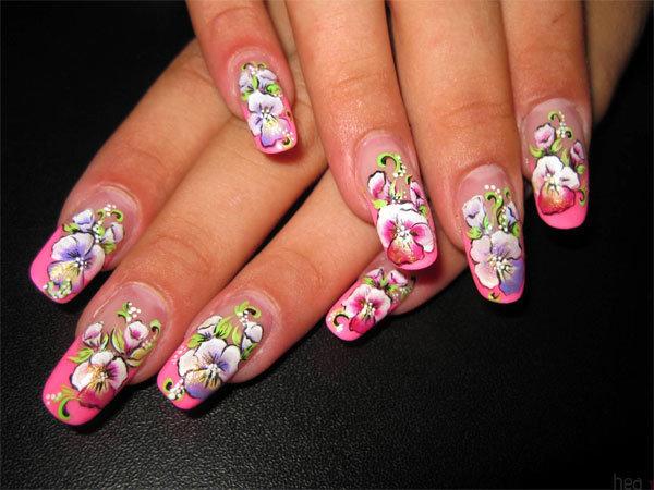 Полевые цветы на ногтях фото