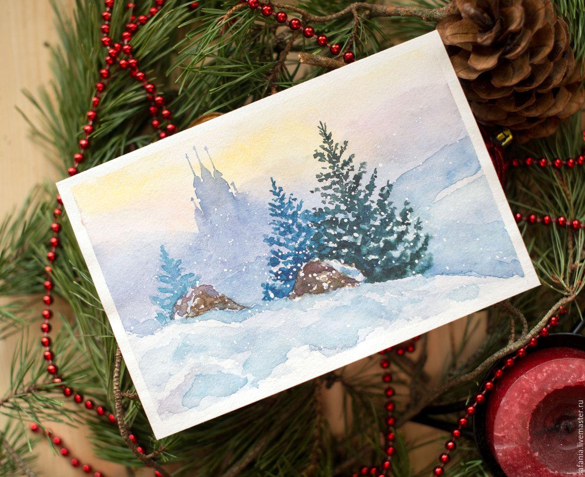 С новым годом открытки акварель, картинки для торта
