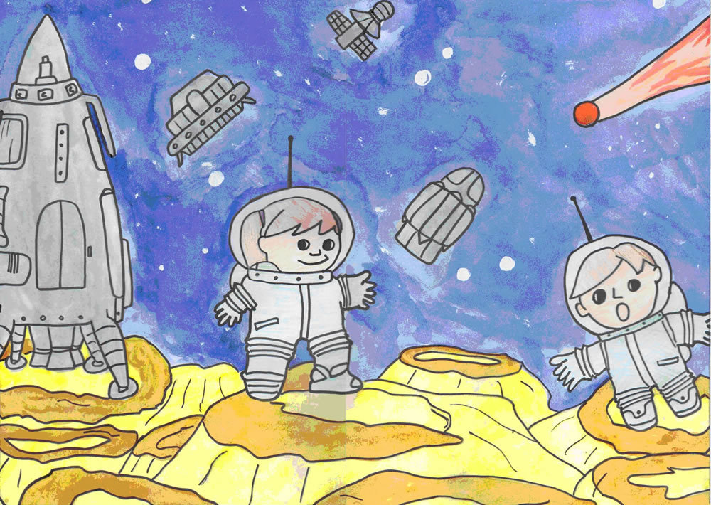 Картинка рисунок ко дню космонавтики