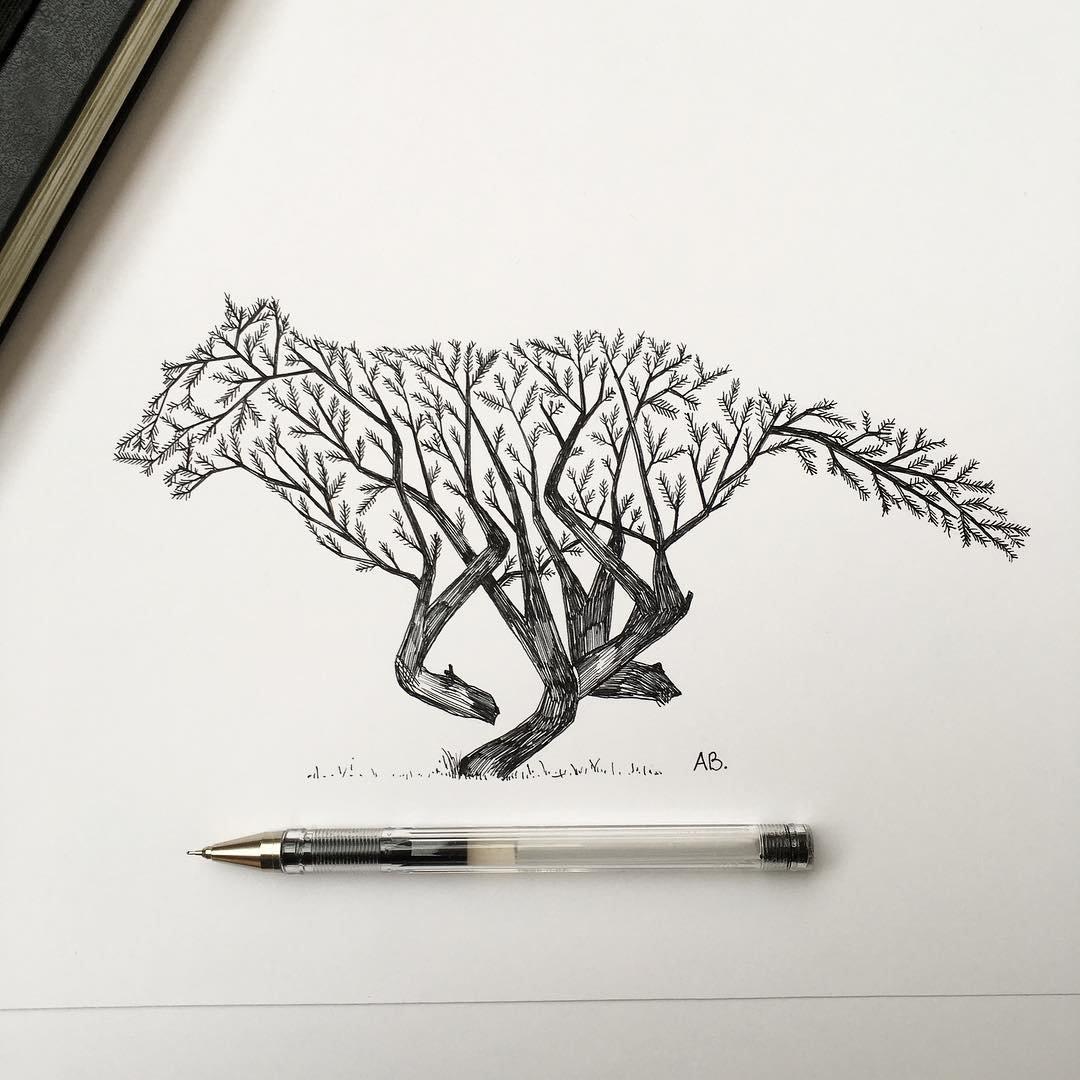 Месяцем, графический дизайн картинки карандашом
