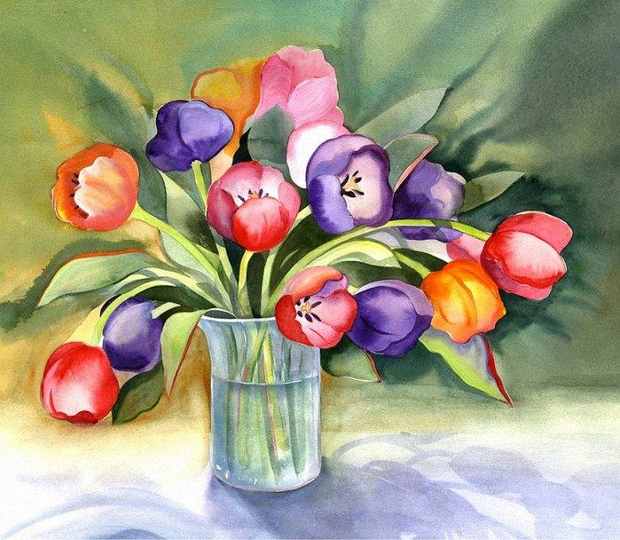 Ваза с цветами рисунок акварелью для детей