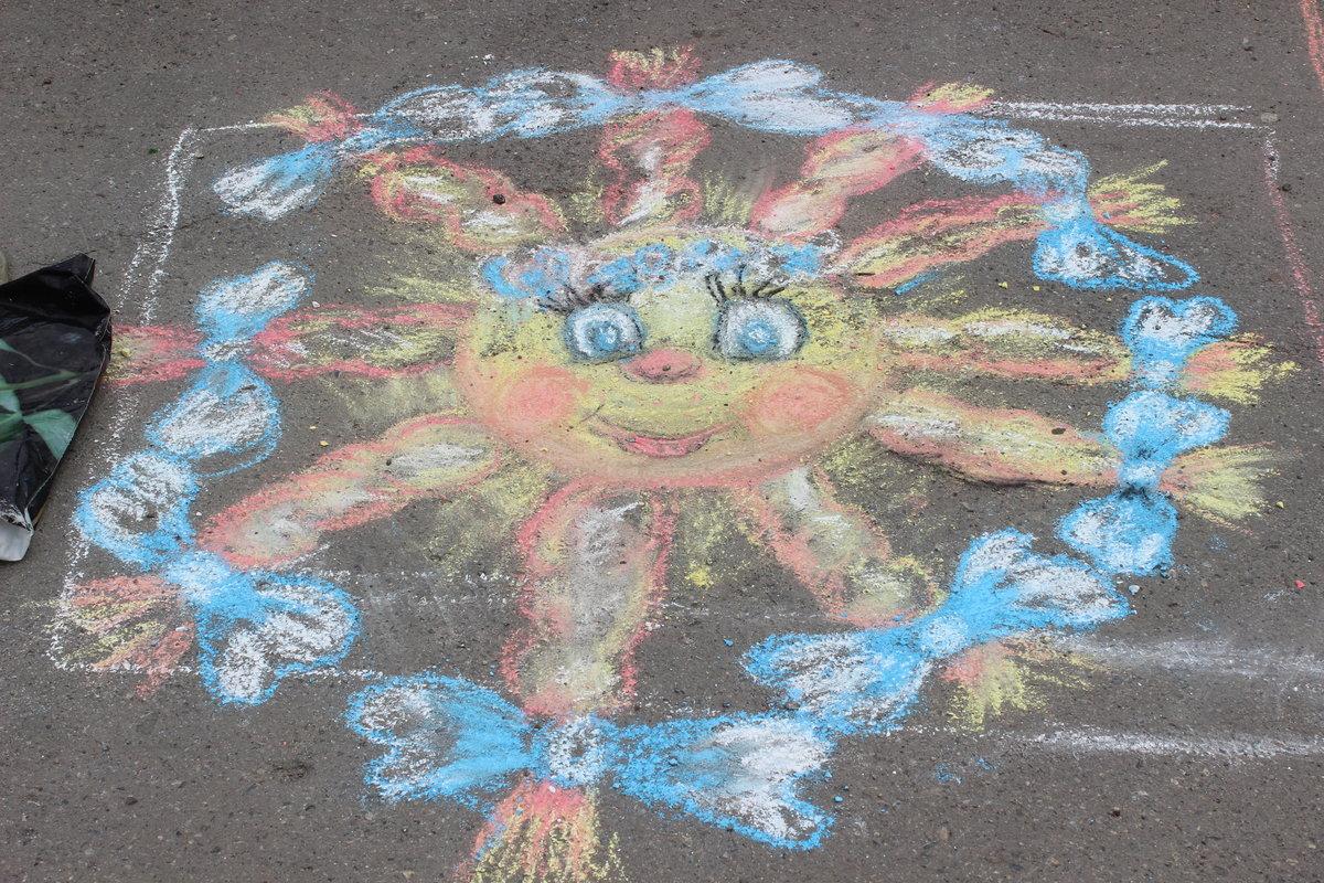 Картинки рисование мелками на асфальте