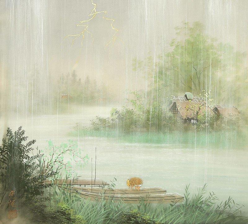 Китайская живопись пейзажи горы воды туман лес птицы