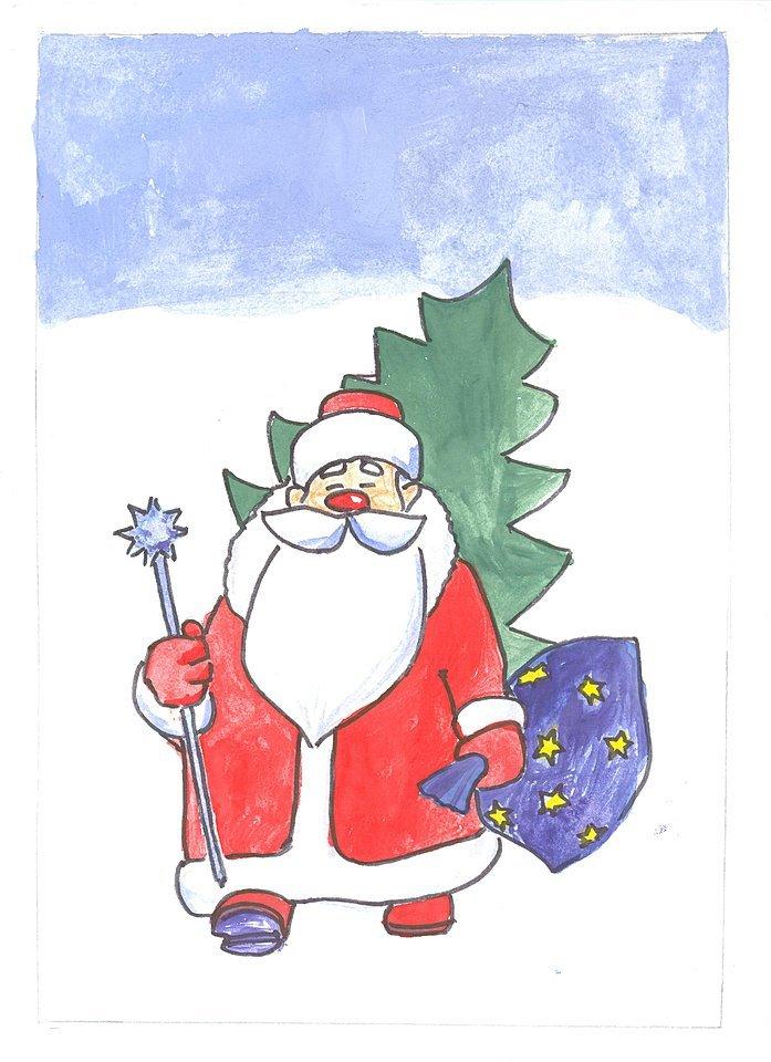 рисуем открытку дедушке морозу восточному гороскопу