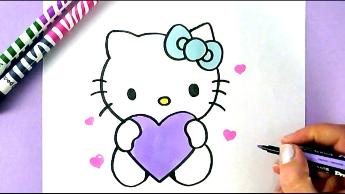 How To Draw Hello Kitty With Love Hearts Easy Drawing Tutori Card