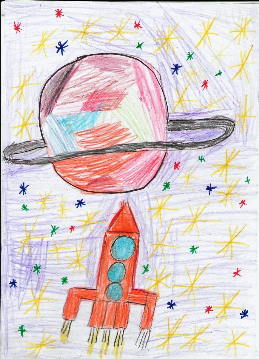 космос картинки карандашом