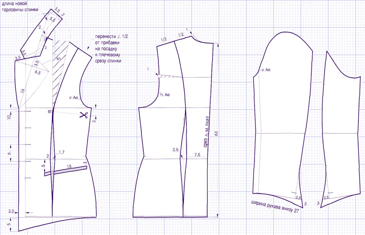 Выкройка рукавов для пиджака