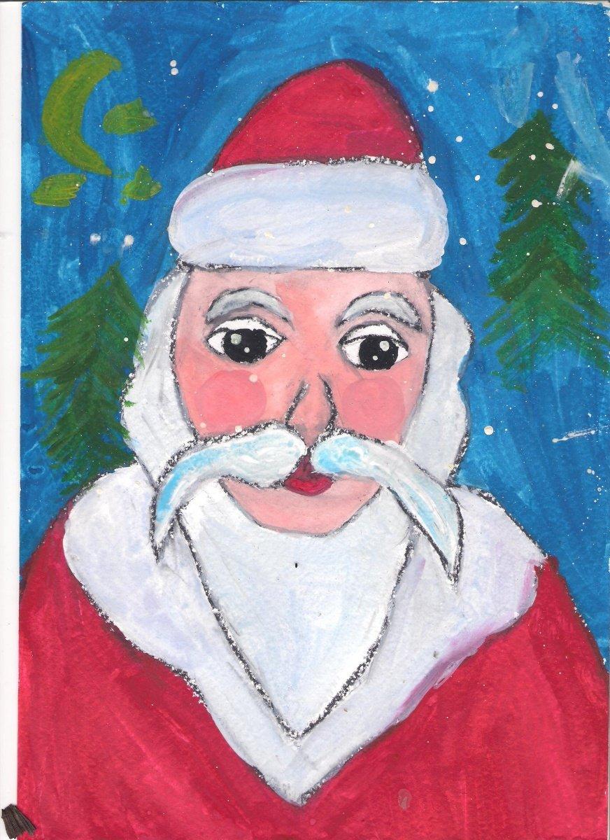 Рисуем деда мороза с детьми картинки