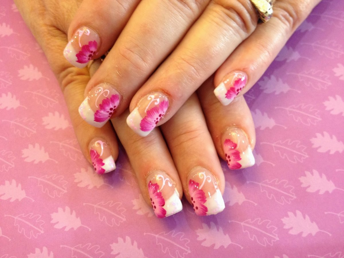 Nail Art Nail Designs French Manicure With Flowers Pics - Be\