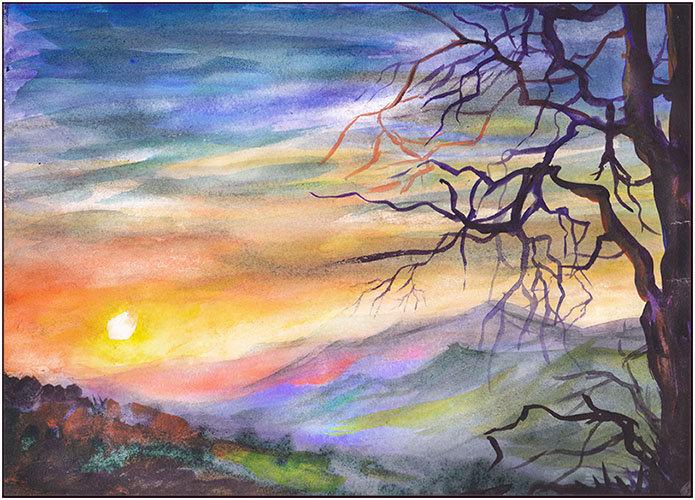 Красивые рисунки гуашью природа для начинающих поэтапно