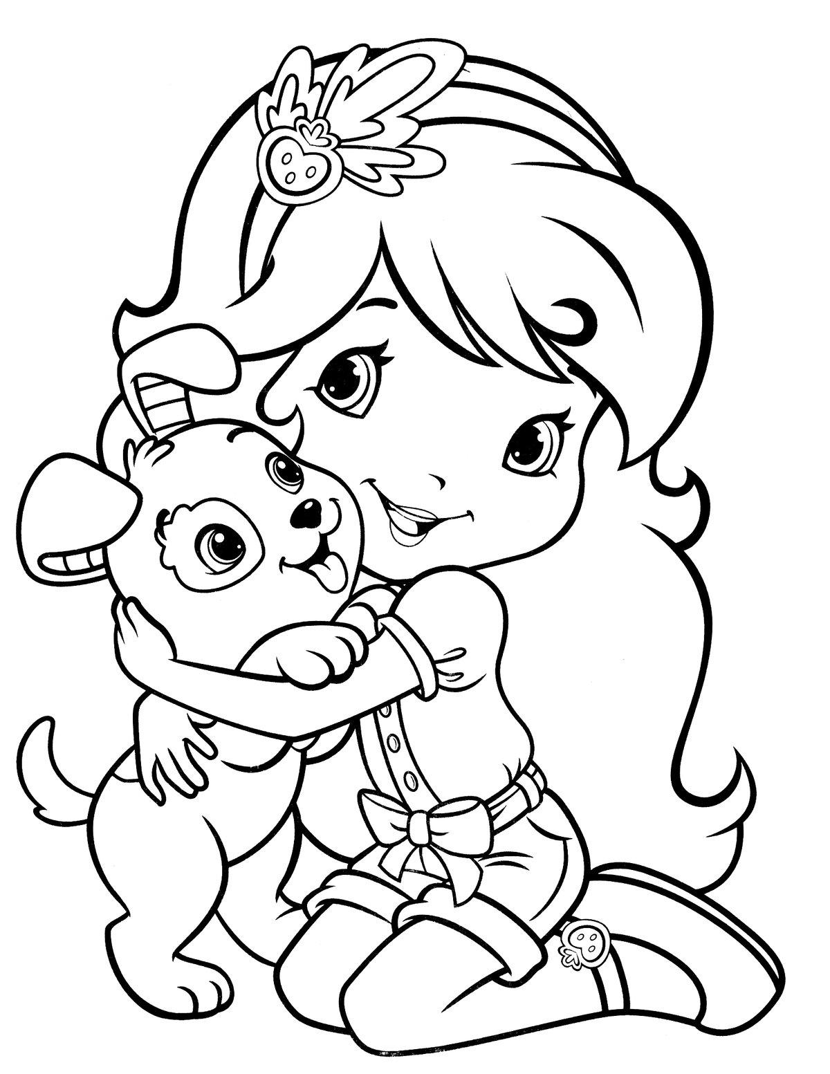 Картинки девочка с собакой раскраска, день рождения бабушке
