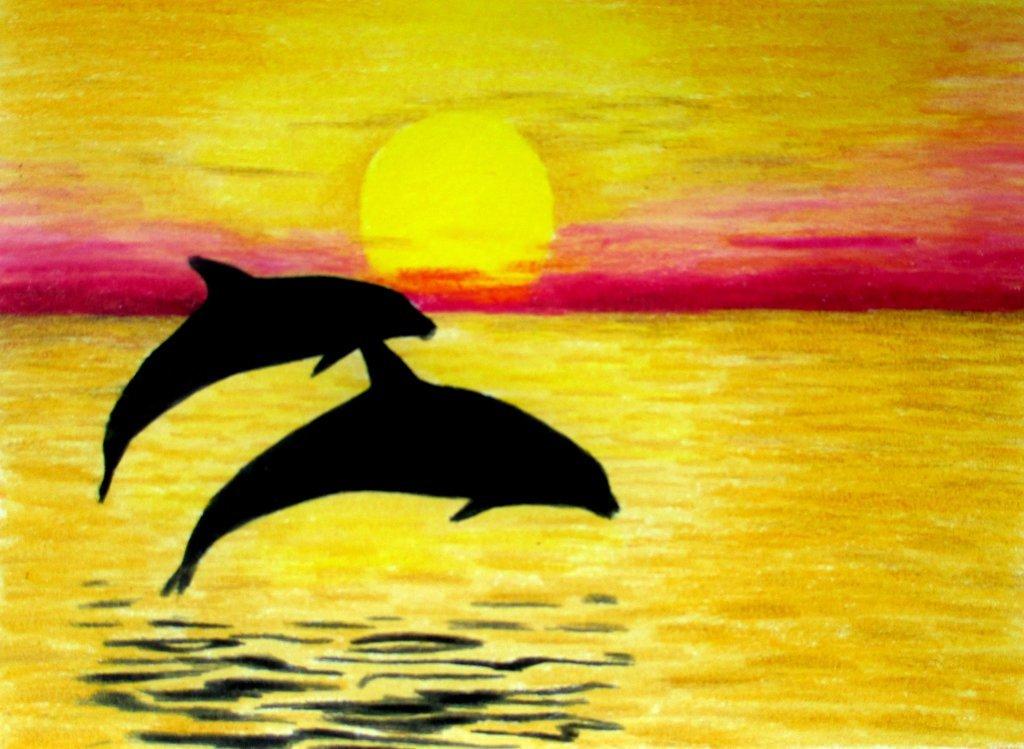 Рисунки гуашью дельфины