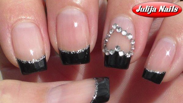 Дизайн ногтей черный френч блестки