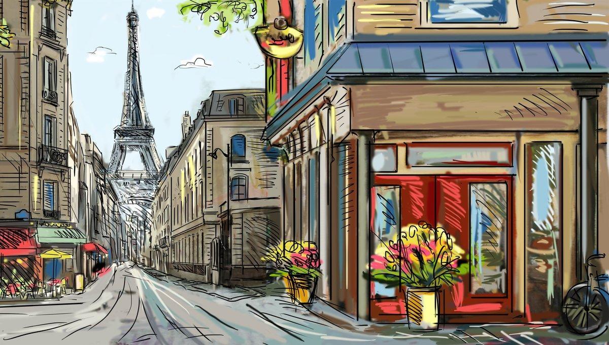 Апреля, открытка на тему город