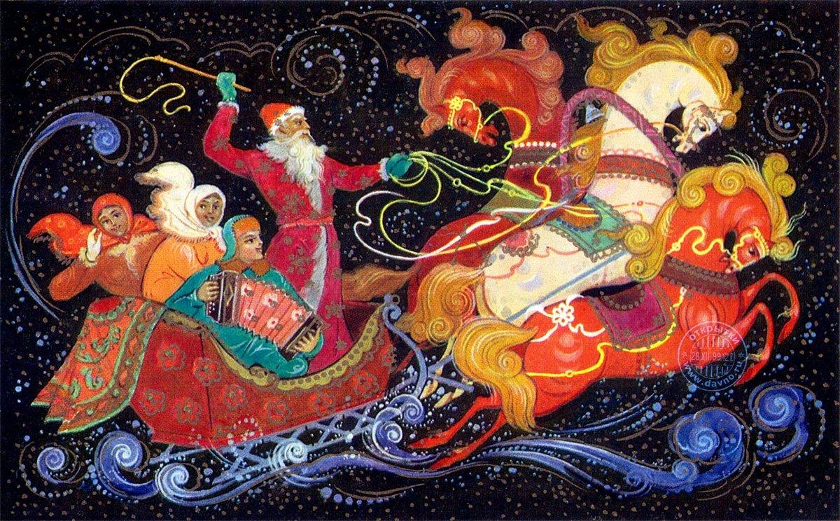 Новогодняя открытка палех
