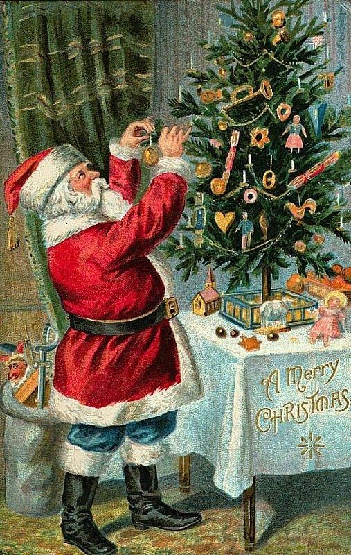 Ретро открытки с елкой, открытка поздравление женщине