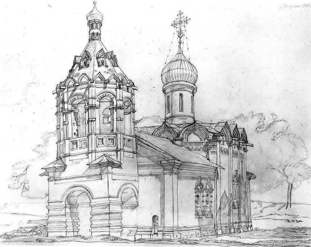 Днем, монастырь картинки карандашом