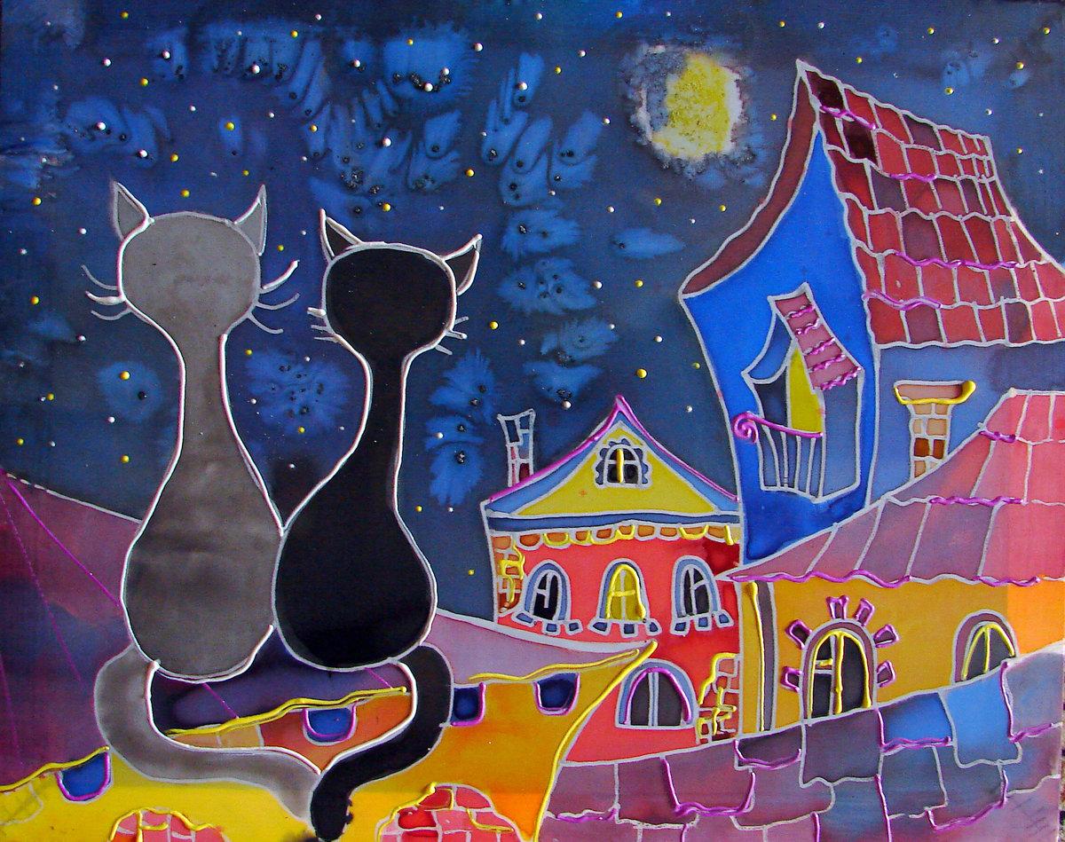 Рисунки батиком эскизы картинки кошки