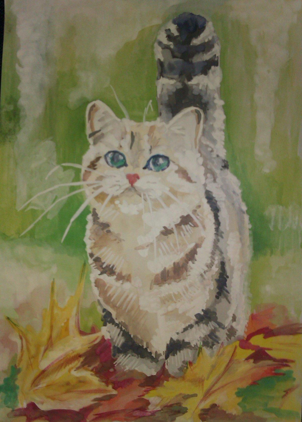 Рисунки кошки поэтапно гуашью коричневое, фото